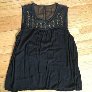 Cool LUCKY BRAND Black Tank Top with Gold Beading